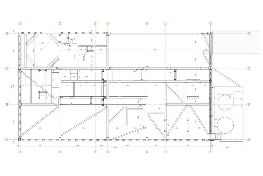 Projekt der Unterkonstruktion des Glutentrockners - Zchng. 03-03