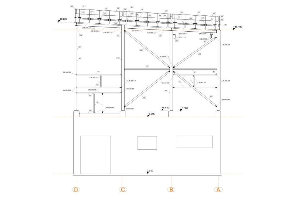 Projekt der Unterkonstruktion des Glutentrockners - Zchng. 04-03