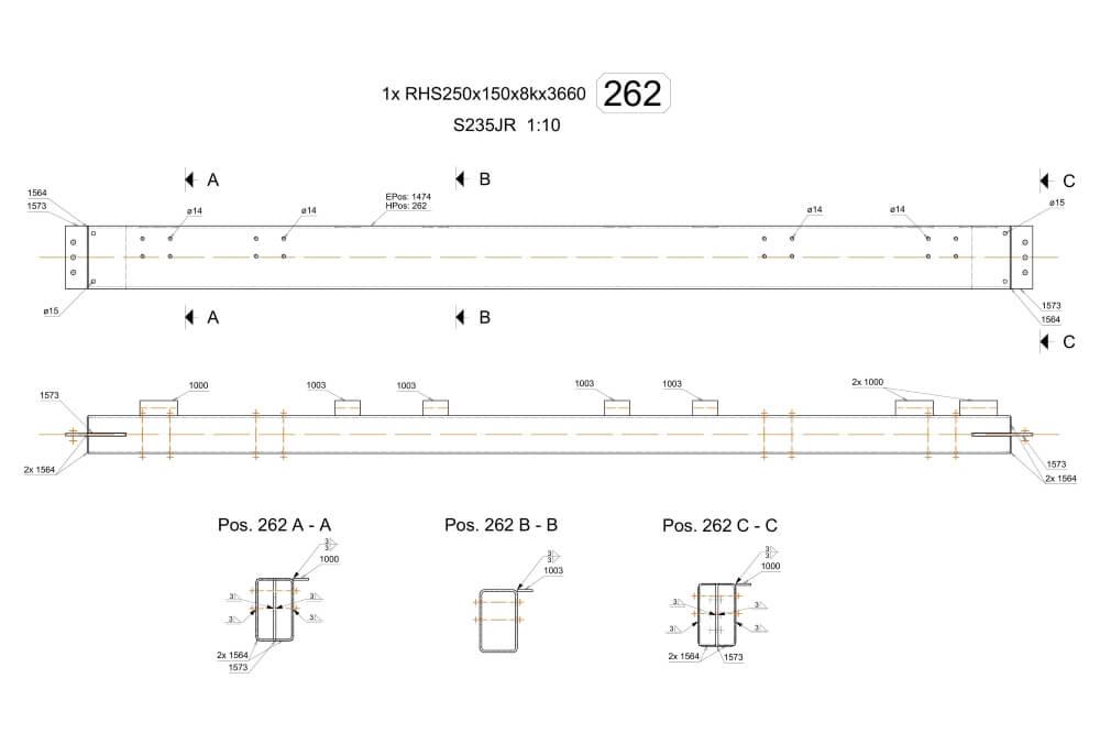 Projekt der Unterkonstruktion des Glutentrockners - Zchng. 06-03