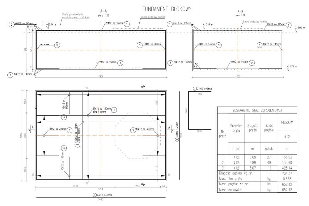 Projekt des Industrieschornsteins des Asphaltwerks - Zchng. 01-03
