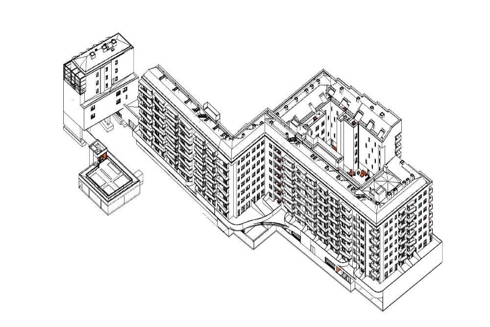Konstruktionsprojekt des Wohngebäudekomplexes - Zchng. 01-03