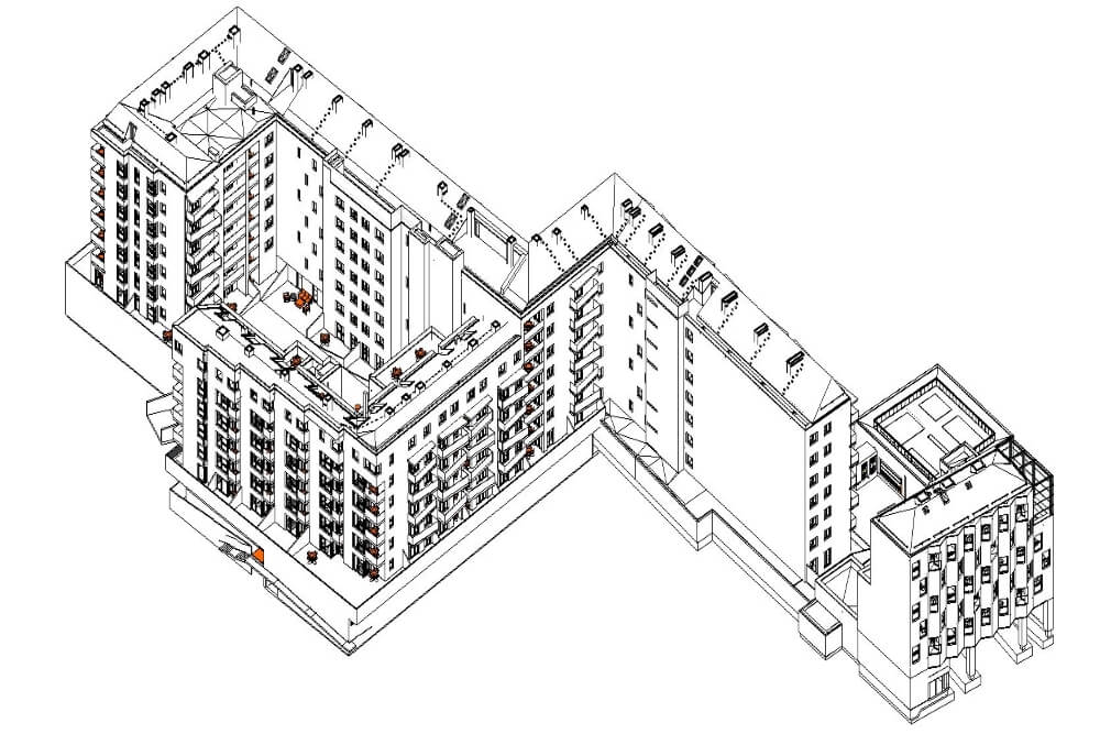 Konstruktionsprojekt des Wohngebäudekomplexes - Zchng. 02-03