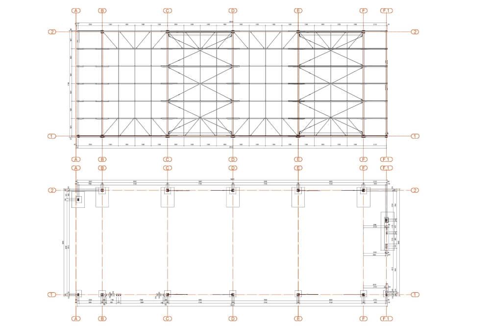 Projekt der Konstruktion der Stahlhalle - Zchng. 02-03