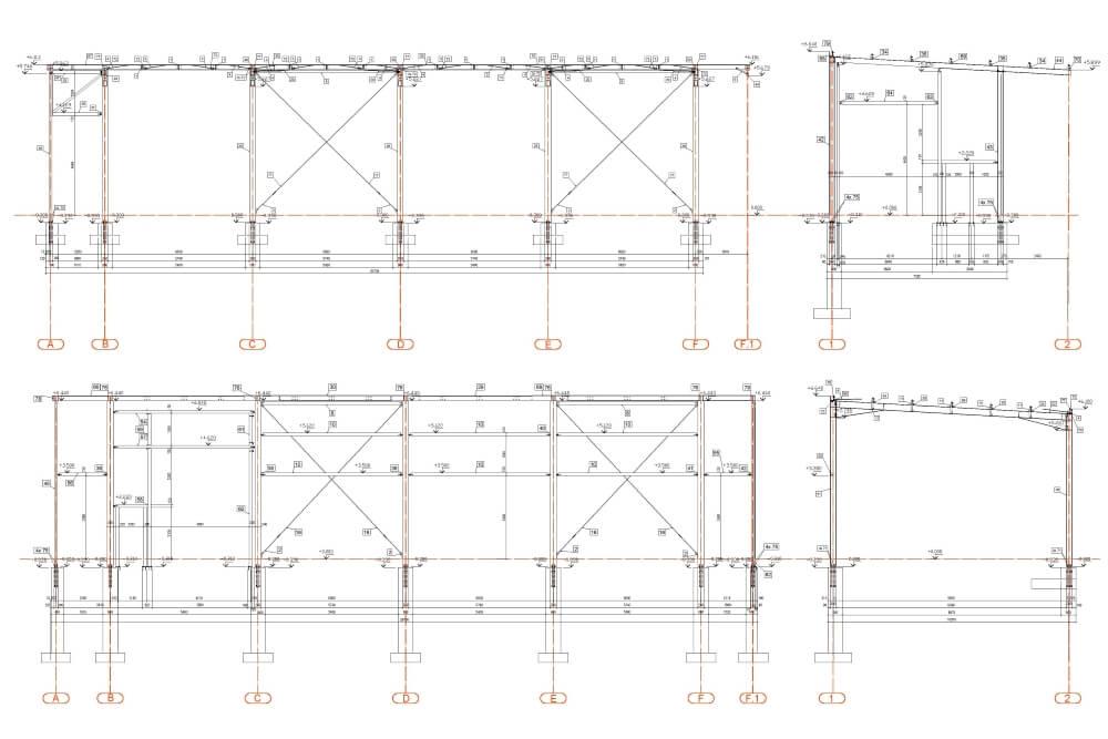 Projekt der Konstruktion der Stahlhalle - Zchng. 03-03