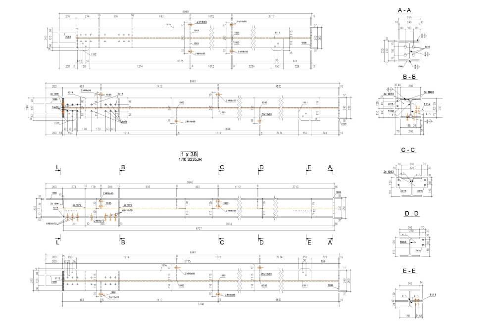 Projekt der Konstruktion der Stahlhalle - Zchng. 04-03
