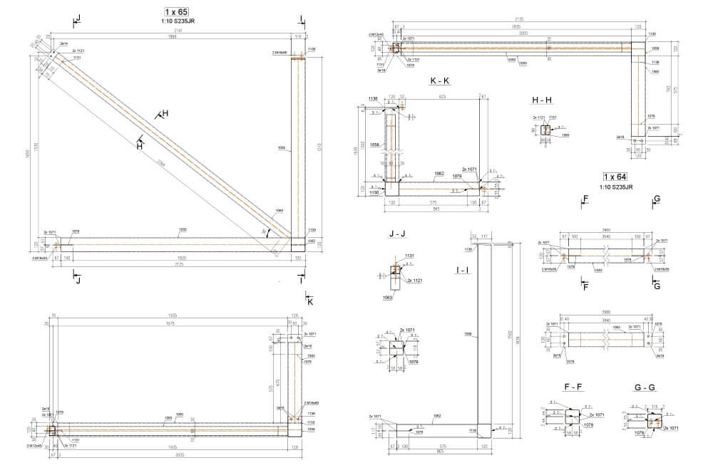 Projekt der Konstruktion der Stahlhalle - Zchng. 05-03