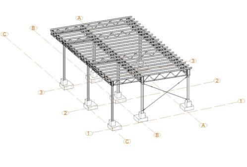 Projekt der Konstruktion der Stahlüberdachung - Zchng. 01-03