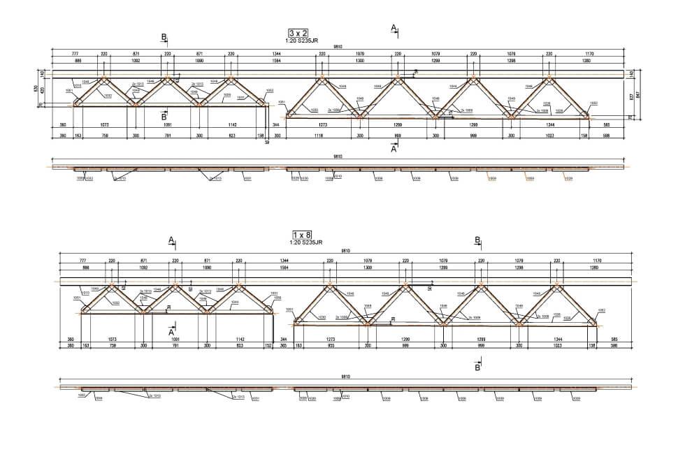 Projekt der Konstruktion der Stahlüberdachung - Zchng. 04-03