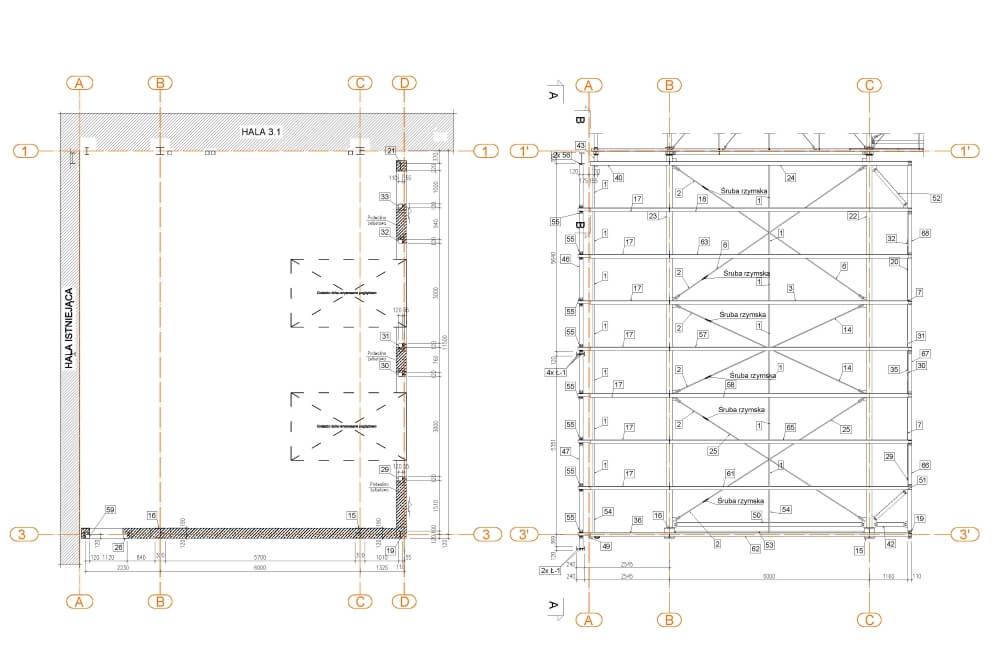 Projekt der Lagerhalle - Zchng. 02-03