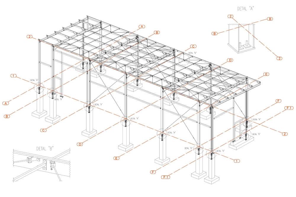 Projekt konstrukcji hali stalowej - rys. 01-03