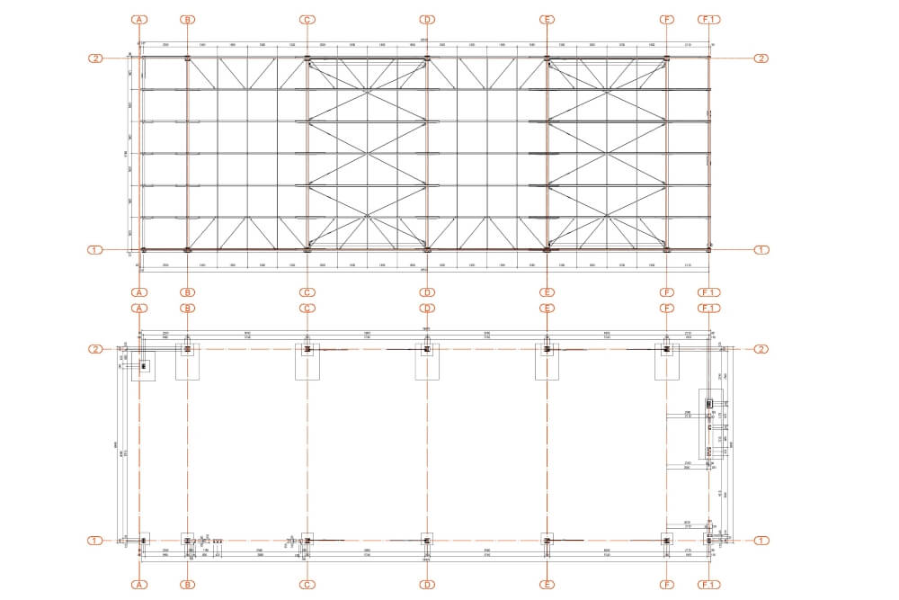 Projekt konstrukcji hali stalowej - rys. 02-03