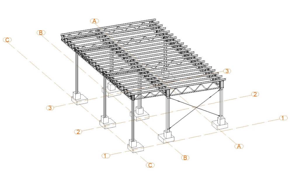 Projekt konstrukcji wiaty stalowej - rys. 01-03