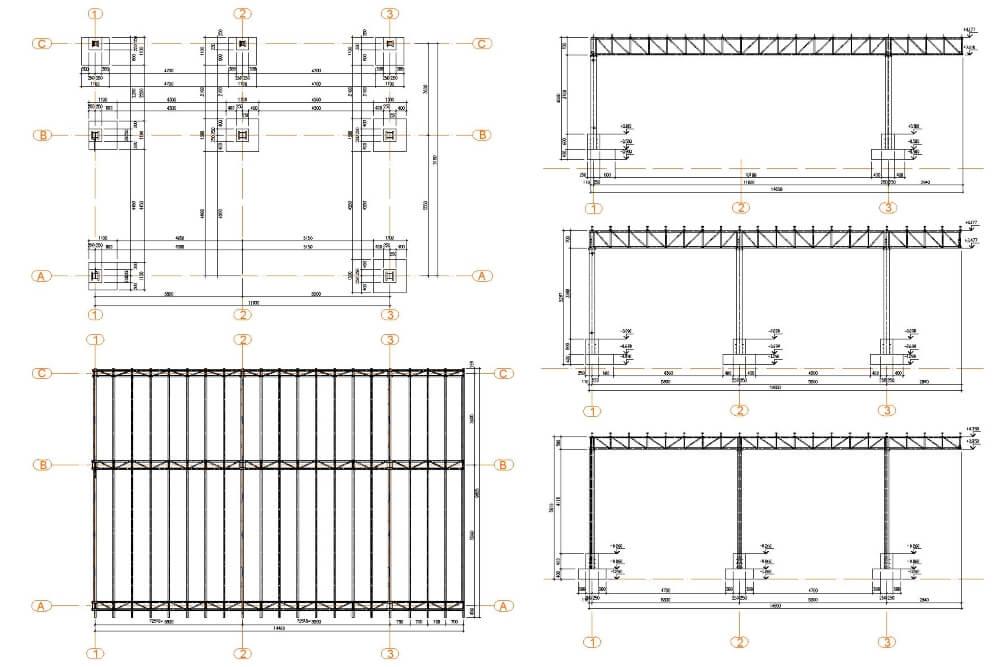 Projekt konstrukcji wiaty stalowej - rys. 02-03