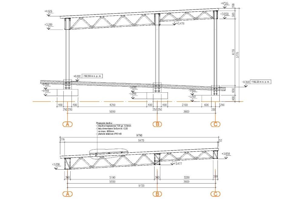 Projekt konstrukcji wiaty stalowej - rys. 03-03