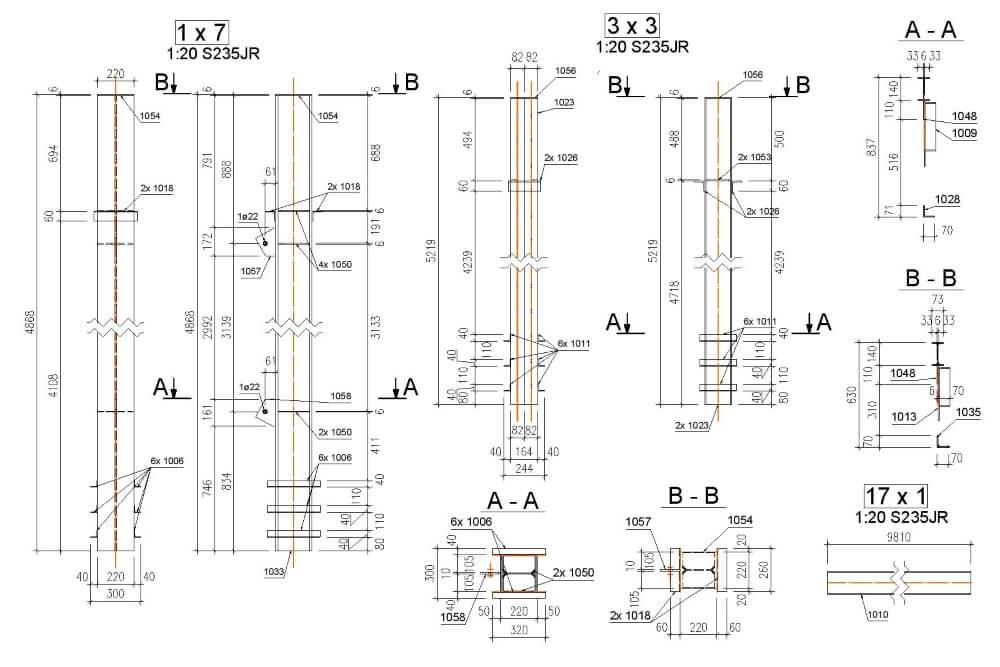 Projekt konstrukcji wiaty stalowej - rys. 05-03