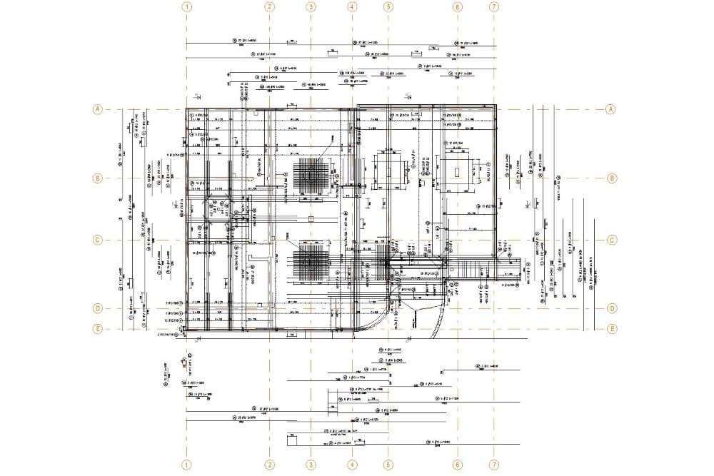Projekt konstrukcyjny zabudowy wielorodzinnej - rys. 01-03