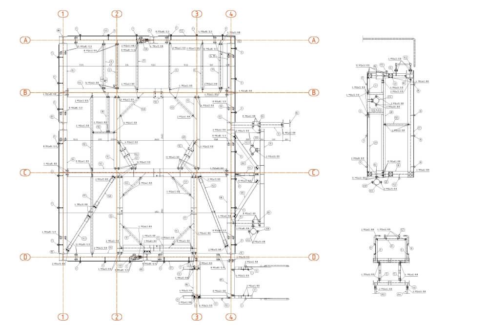 Projekt stalowych podestów obsługowych - rys. 03-03