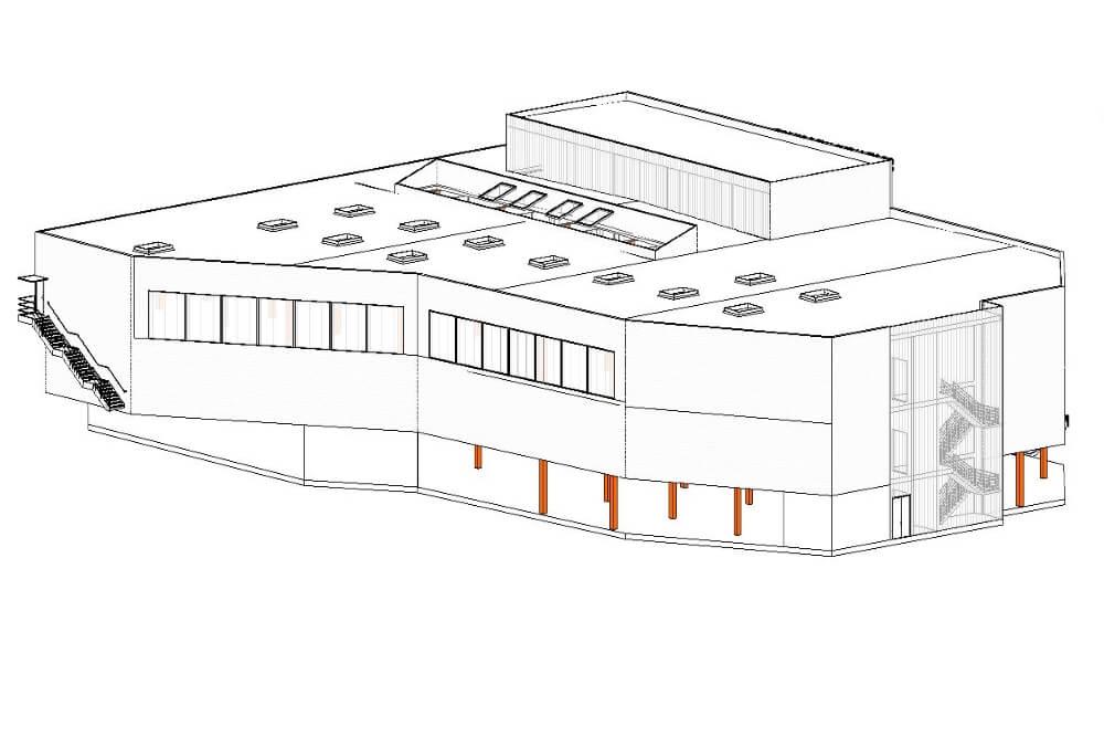 Konstruktionsprojekt des Einkaufszentrums - Zchng. 01-03