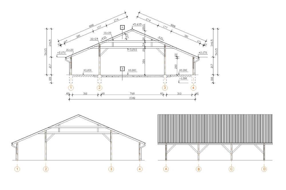 Projekt wiaty drewnianej - rys. 03-03