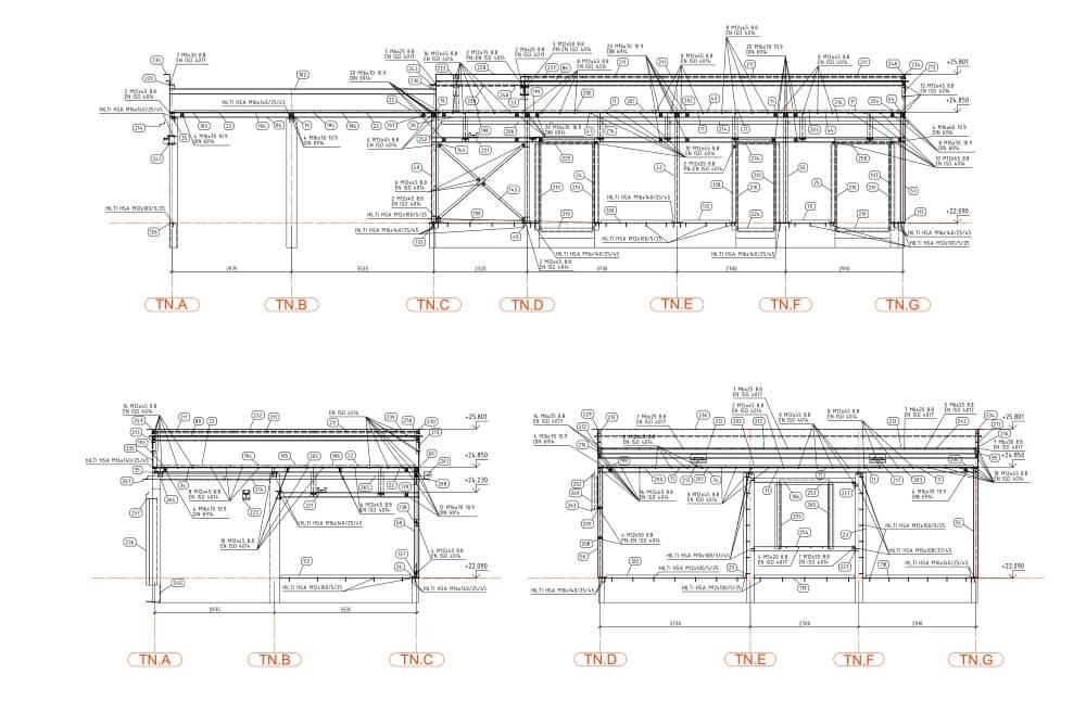 Konstruktionsprojekt der Pergolen und Dachaufbauten - Zchng. 05-03