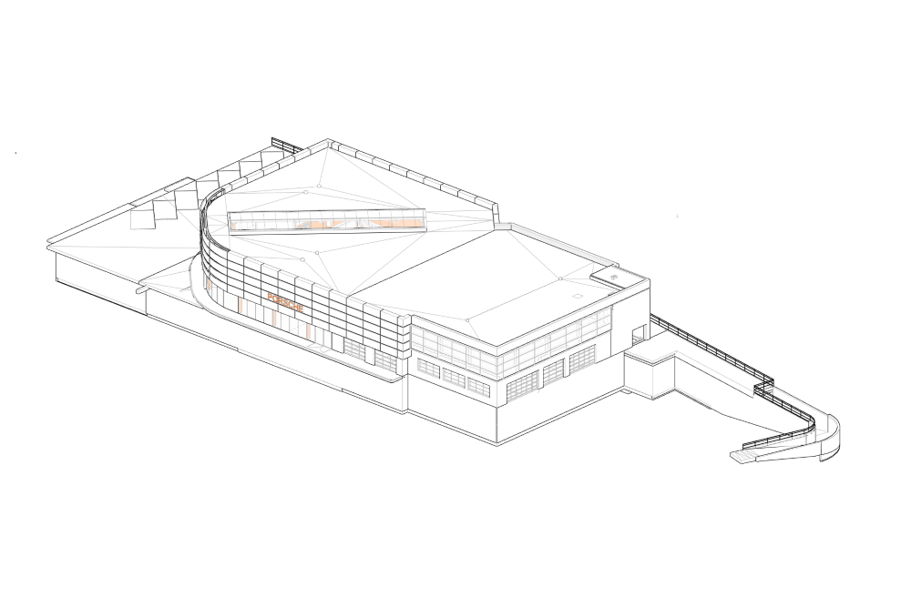 Konstruktionsprojekt des Autosalons PORSCHE - Zchng. 01-03