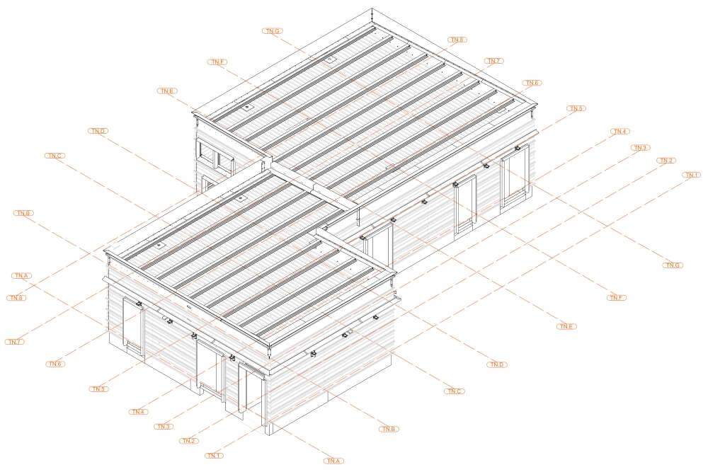 Projekt konstrukcyjny pergoli i zadaszeń klatek schodowych - rys. 01-03