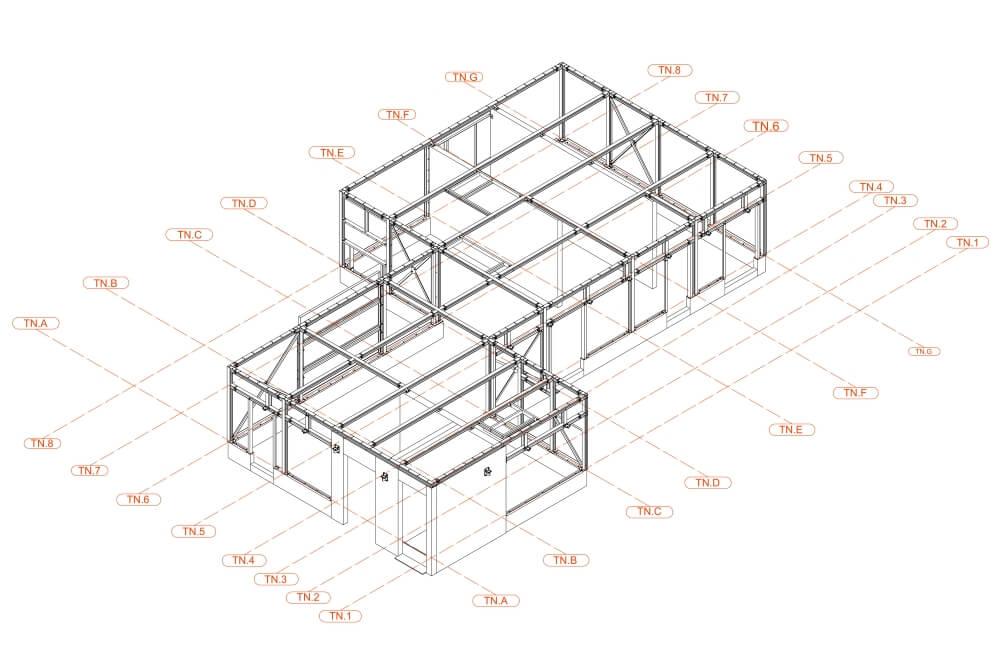 Projekt konstrukcyjny pergoli i zadaszeń klatek schodowych - rys. 02-03
