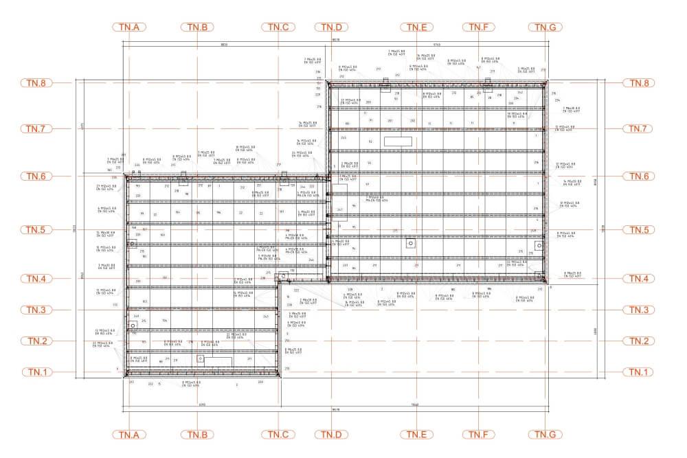 Projekt konstrukcyjny pergoli i zadaszeń klatek schodowych - rys. 03-03