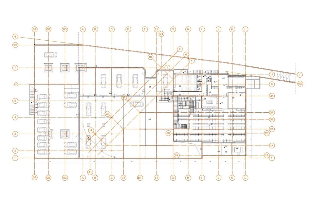Projekt konstrukcyjny salonu PORSCHE - rys. 03-03