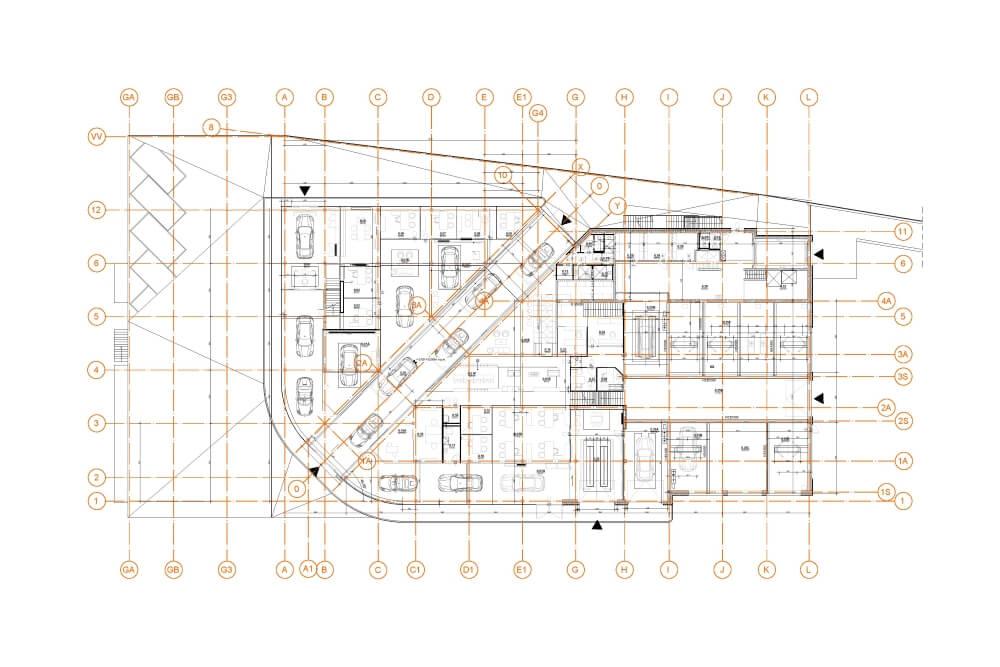 Projekt konstrukcyjny salonu PORSCHE - rys. 04-03